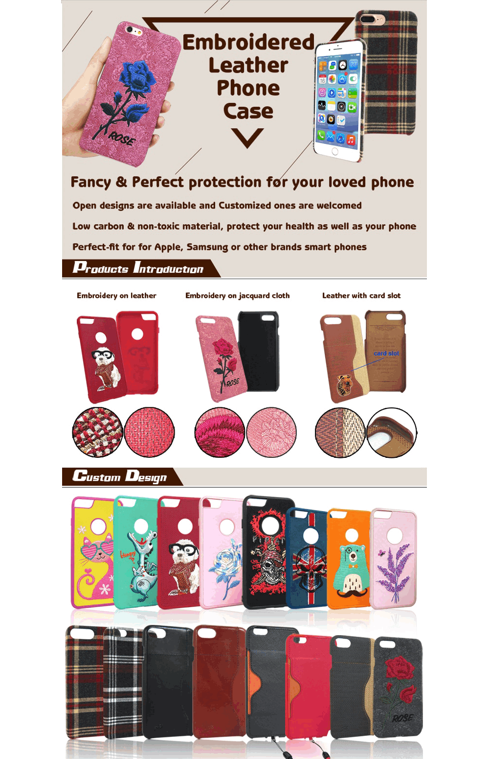 custom embroidered phone cases