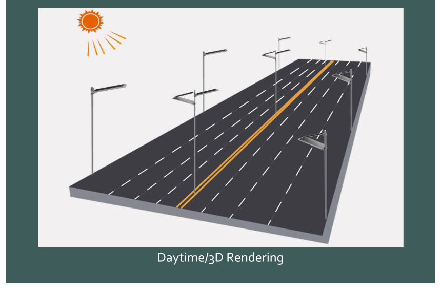 3D simulation of solar street light in daytime