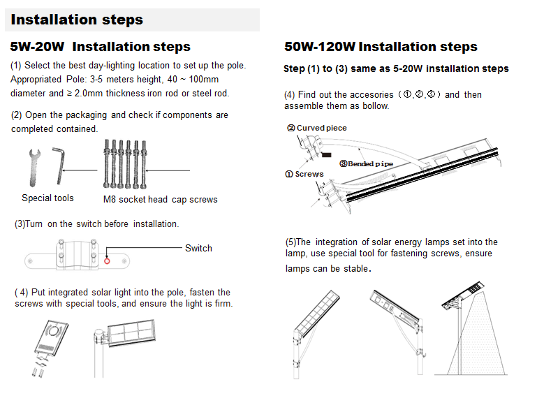 installation of solar led street light
