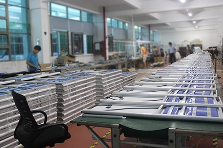 production line of solar street light factory