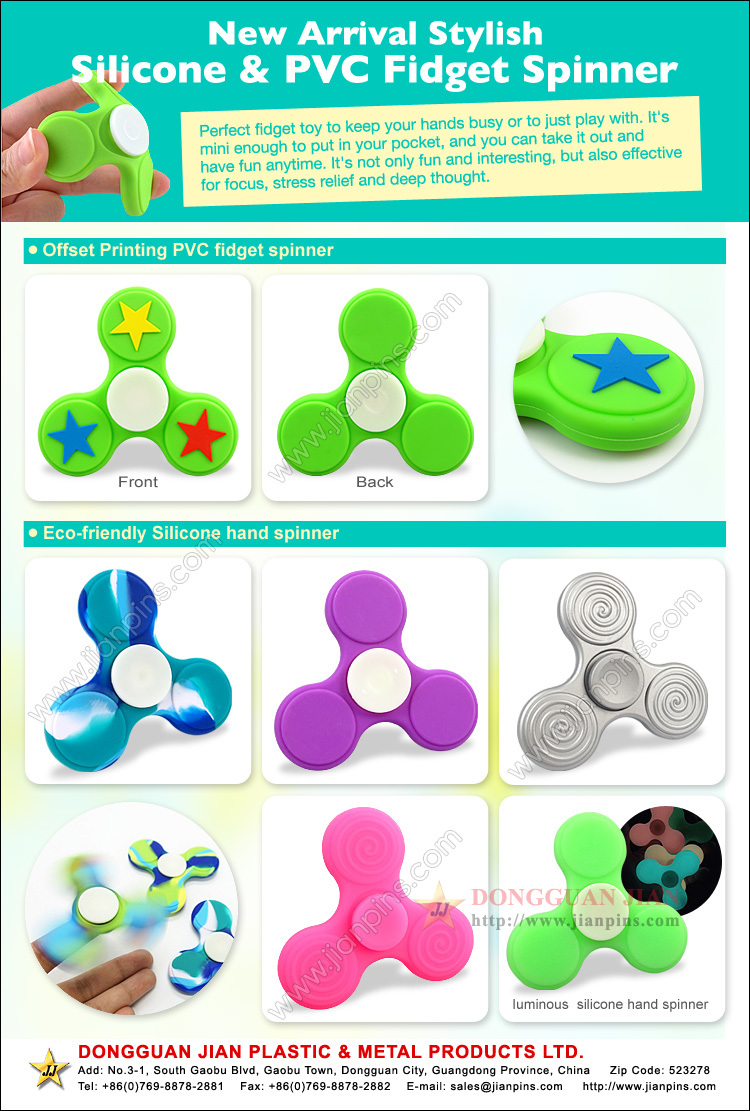 Eco-friendly fidget spinner toy in silicone & rubber