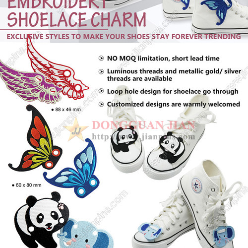 Fancy Embroidery Shoelace Charms