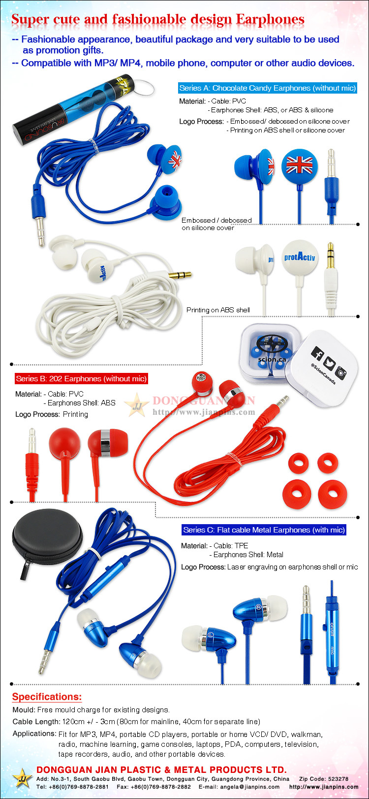 Various customized fashion earphones for promotion