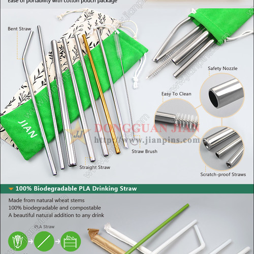 Reusable Straws Metal Straws Biodegradable PLA Drinking Straws
