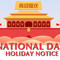 National Day Holiday Notice 2019