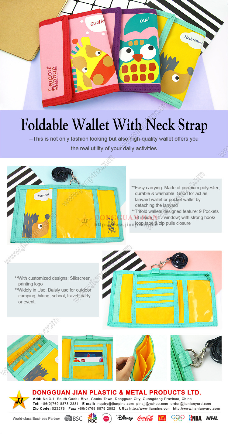 Foldable Wallet With Neck Strap