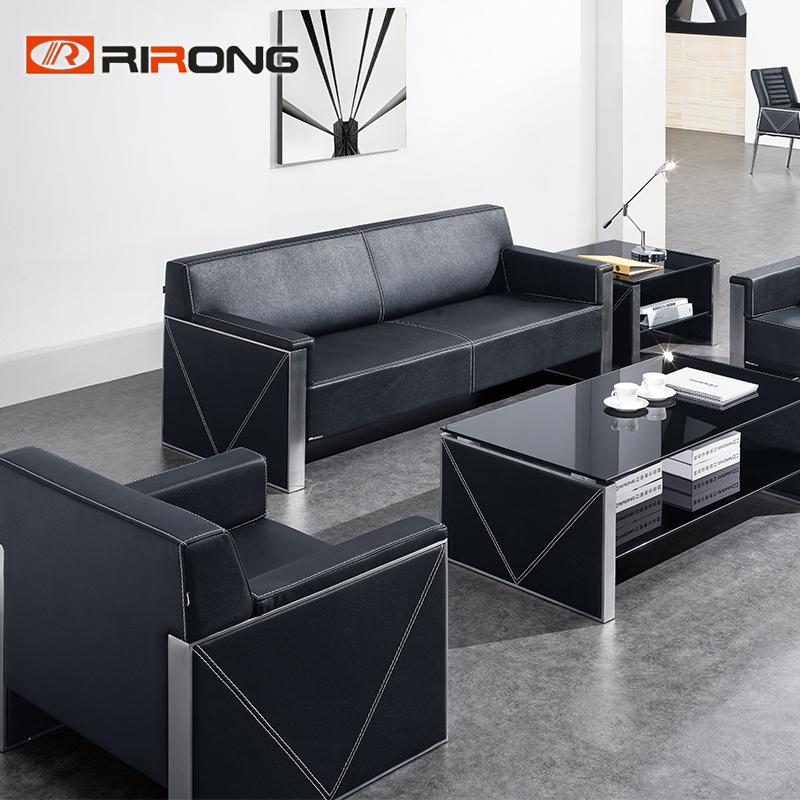 Dk-Black leather sofa set