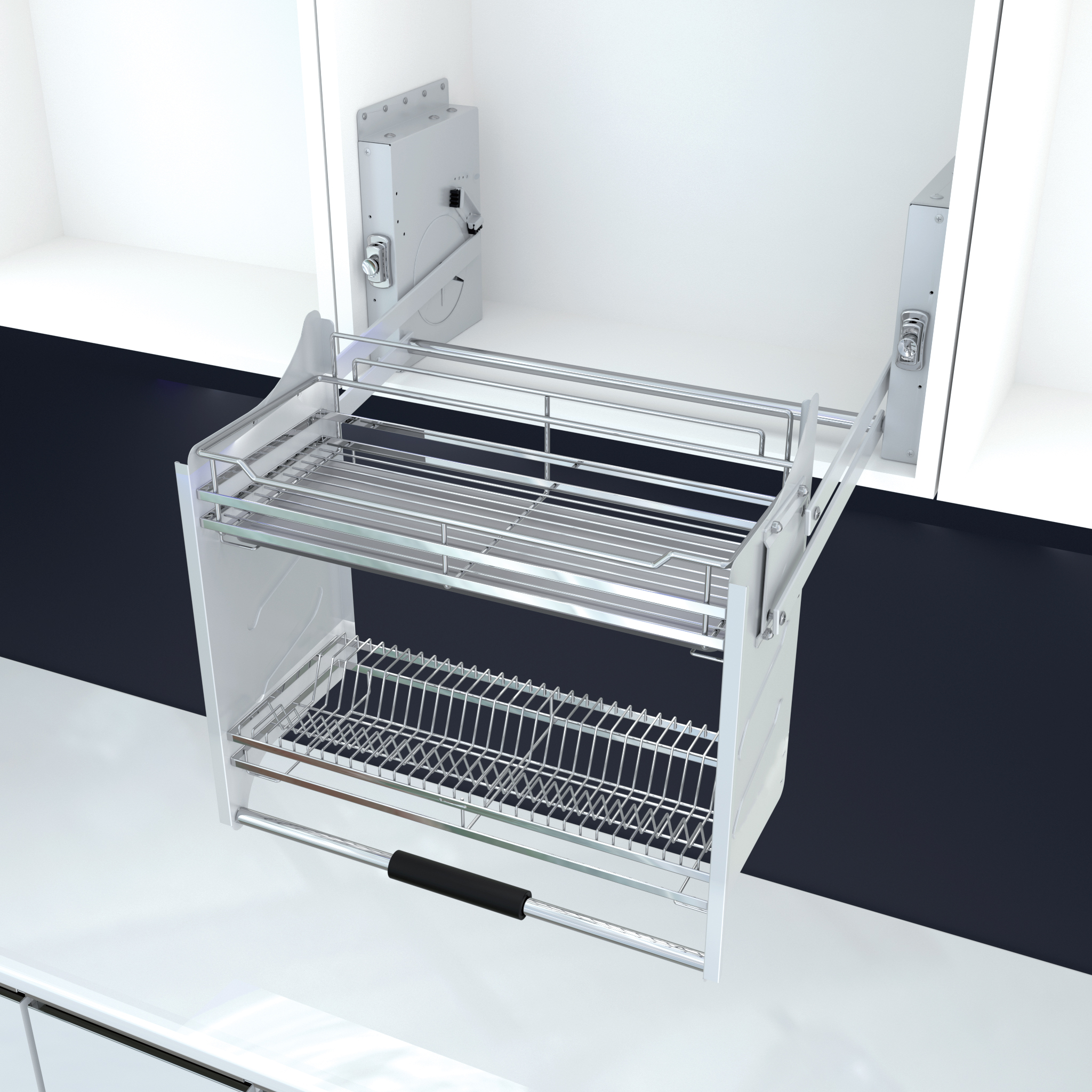 Pull Down Basket With Afterburner System Kitchen Pull Down Shelf