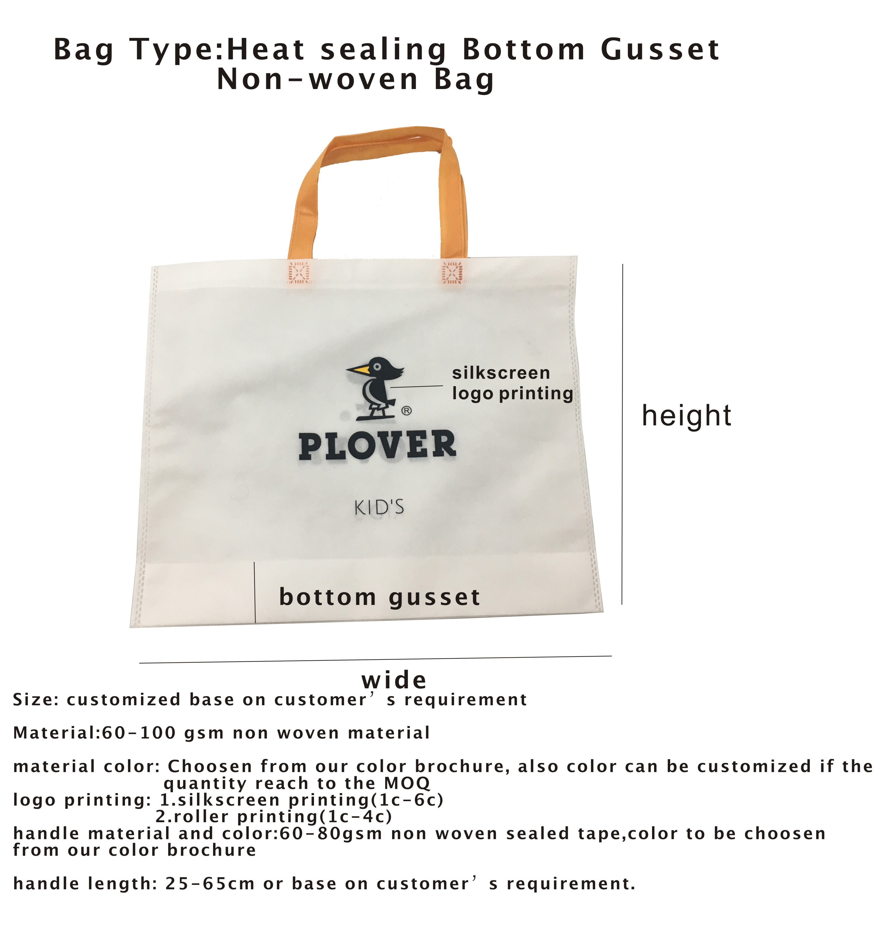 heat sealing non woven bag bottom gusset with die cut handle