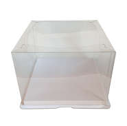 2 component clear plastic cake box with plastic cover and paper bottom