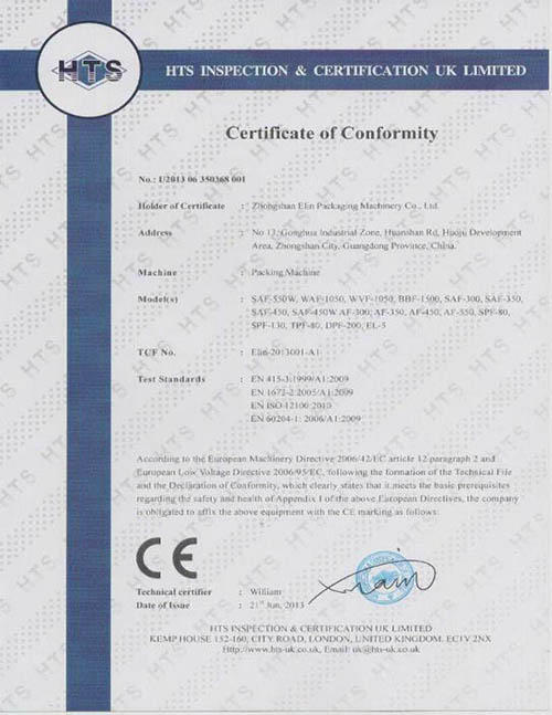 Product CE certifications