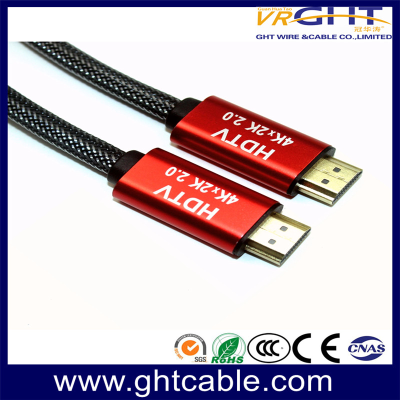 HDMI CABLE 1.4V/2.0V RED ALLOY BRAIDING JACKET