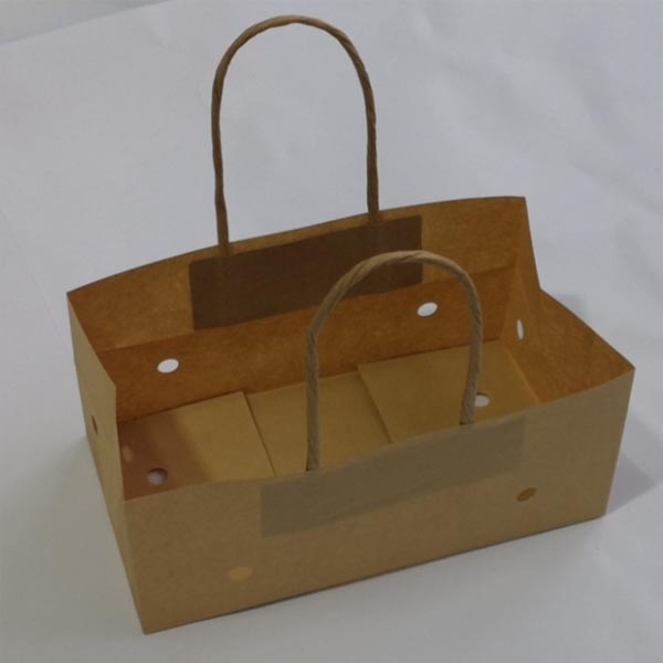 100% Brown Kraft Paper Grape Bag with Twisted Paper Handle