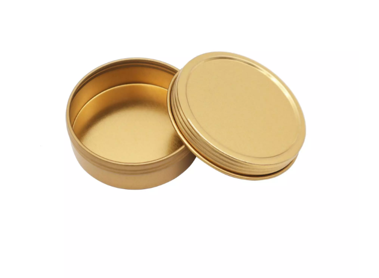 2OZ gold round shaped small tin cans for candles