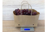 wet strength striped kraft paper grape bag with ventilation and brown handle