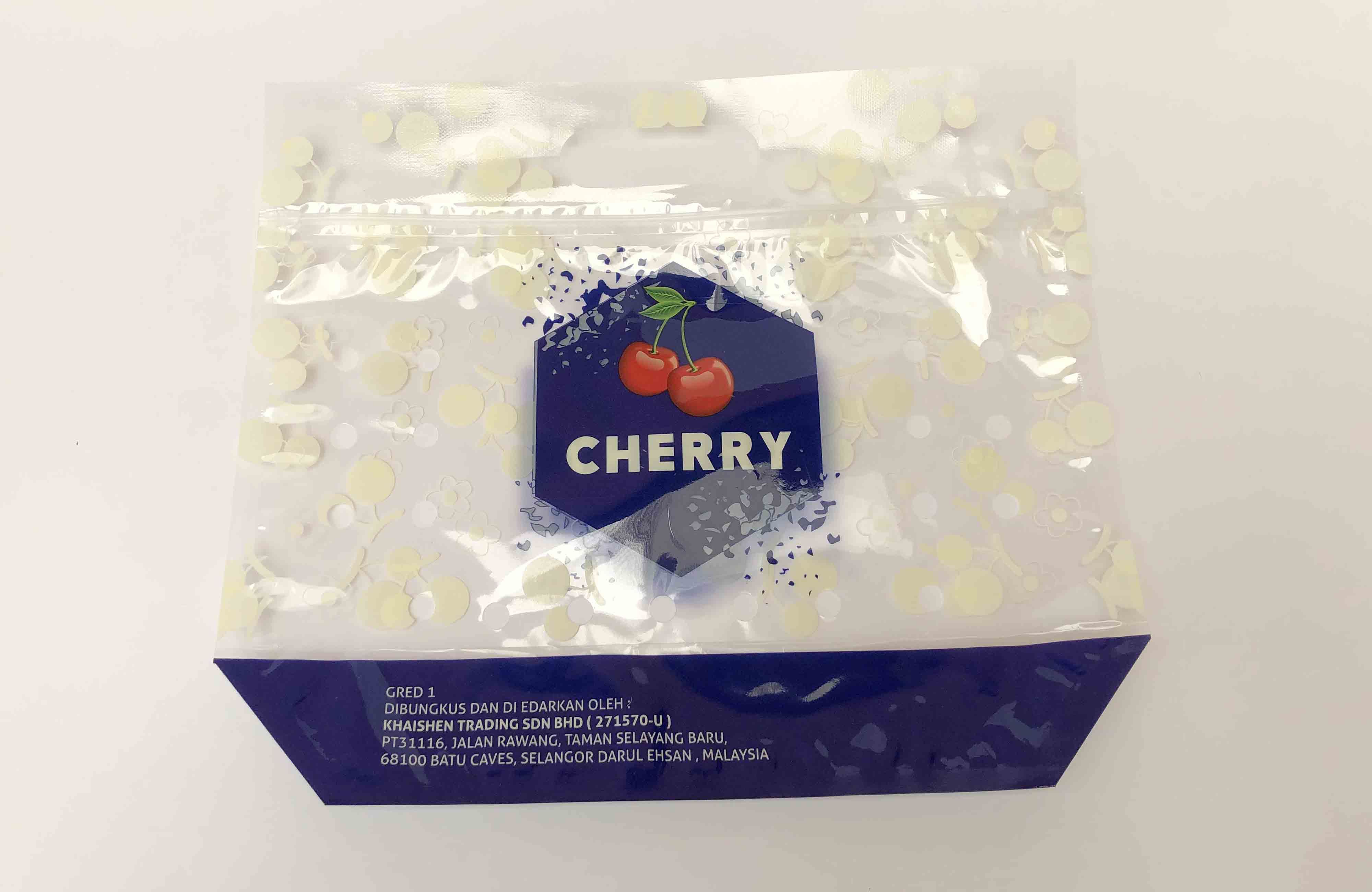 printed plastic cherry pack with slider and ventilation