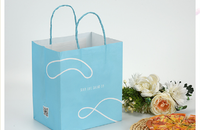 printed white kraft paper carry bag with twisted handle
