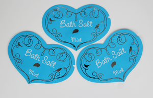 heart shaped foil bag for bath salt packaging