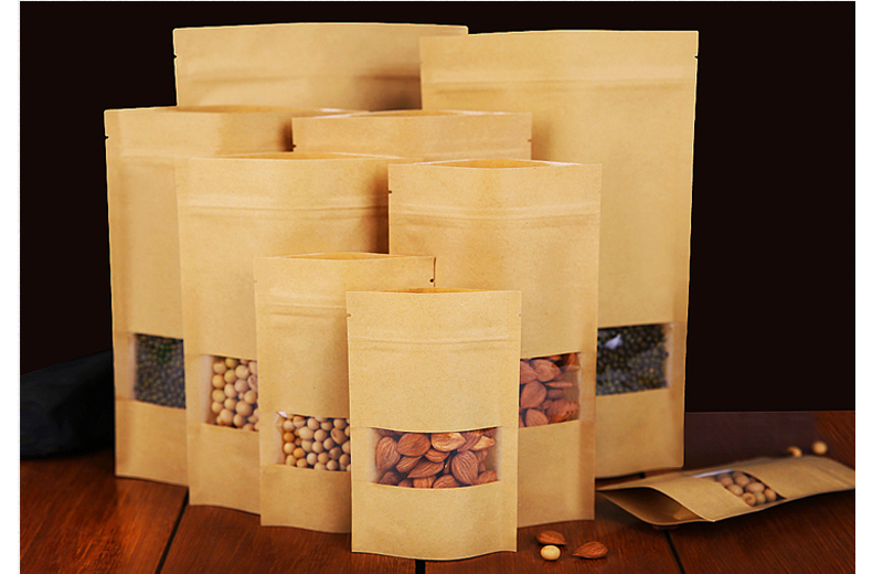 Doypack Stand up brown paper bag with window and zipper