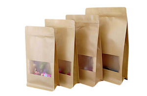 Kraft Paper Box Pouches With Window And Zip