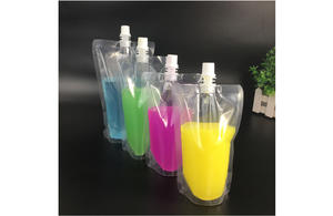 Transparent plastic stand up pouch with spout for 500ml liquid
