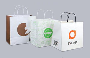 Eco-friendly white kraft SOS paper bags with handle