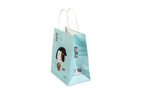 Customized kraft promotional paper bags with twisted handle