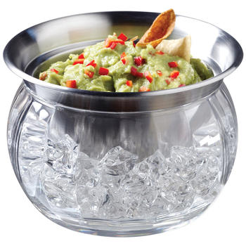 Stainless Steel Dip Chilled Bowl with Acrylic Ice Chamber Bowl  itemprop=