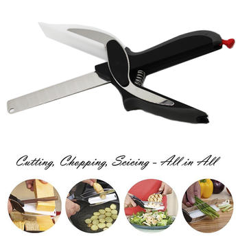 2-in-1 Food Chopper Cutter-Stainless Steel Knife with Cutting Board,Kitchen Knife and scissors itemprop=