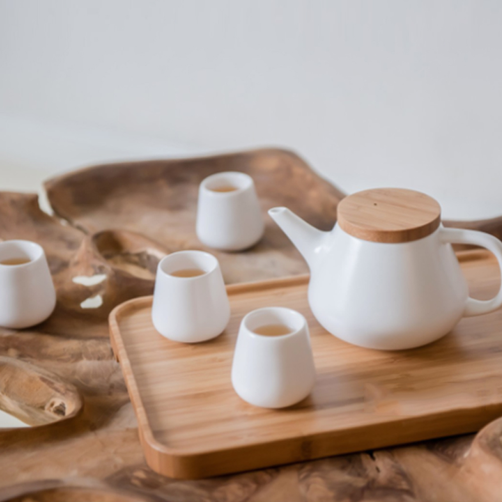 Ceramic Teapot Set, Porcelain Teapot with 4 Tea Cups and a Tea Tray
