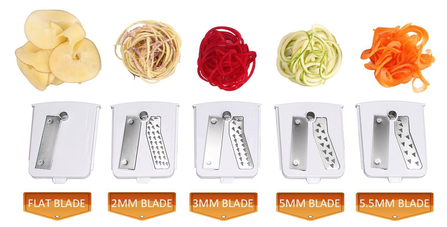 5 blades of the vegetable spiral slicer