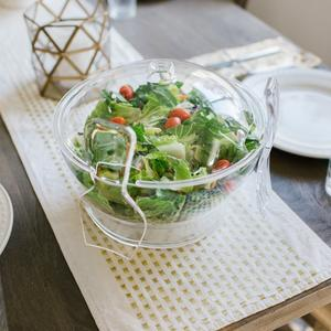 Multifunctional Chilled salad bowl on ice with spoon and fork