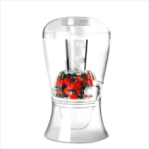 Plastic 2 Gallon beverage dispenser with infuser
