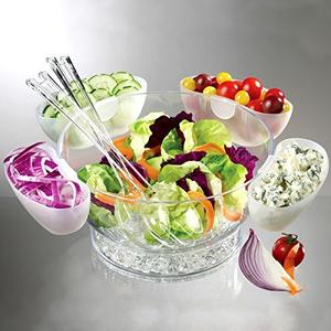 Multifunctional Acrylic Salad Bowl On Ice with 4 Side Servers,ice salad bowl