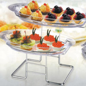 high quality 2-Tier Blossom Dessert Tray-cake stand wedding plastic tray