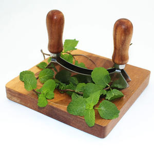 Multifunctional Wood Handle Pizza Cutter Vegetable Chopper Herb cutter