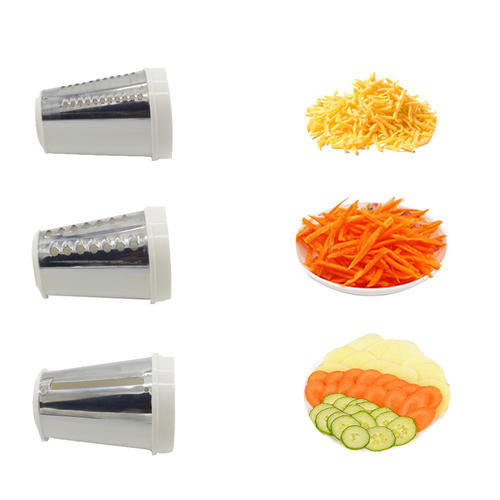 3 Blades Manual Vegetable Slicer Rotary Cheese Grater drums Cheese Shredder
