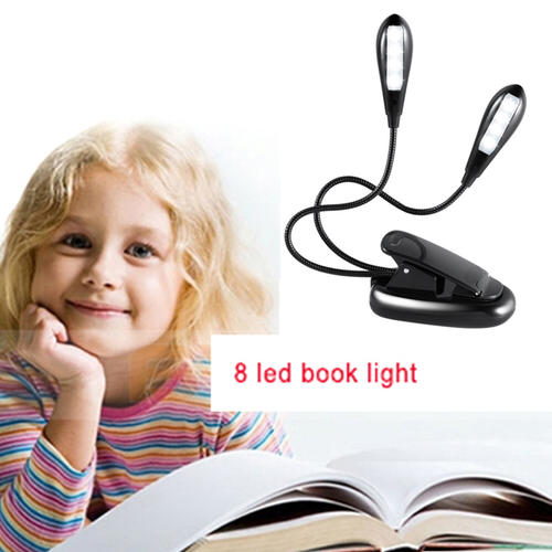 Rechargeable 8 LED Book Light Flexible Arm Lamp Reading Light Book Light