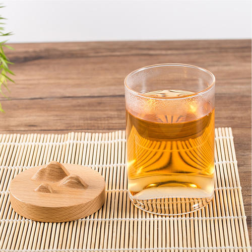Bamboo Lid Glass Tea Cup,Glass Mug with a lid,Water Cup,Coffee Cup